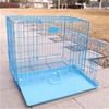 foldable dog cage with removable plastic tray and 2 doors