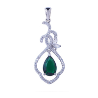 Fashion vintage style emerald 925 sterling silver jewelry pendant