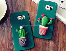 3D Cactus Pattern Hard Plastic Scrub Case for Samsung Galaxy S7 S7 Edge S6 S6 Edge Cute Cartoon Cover