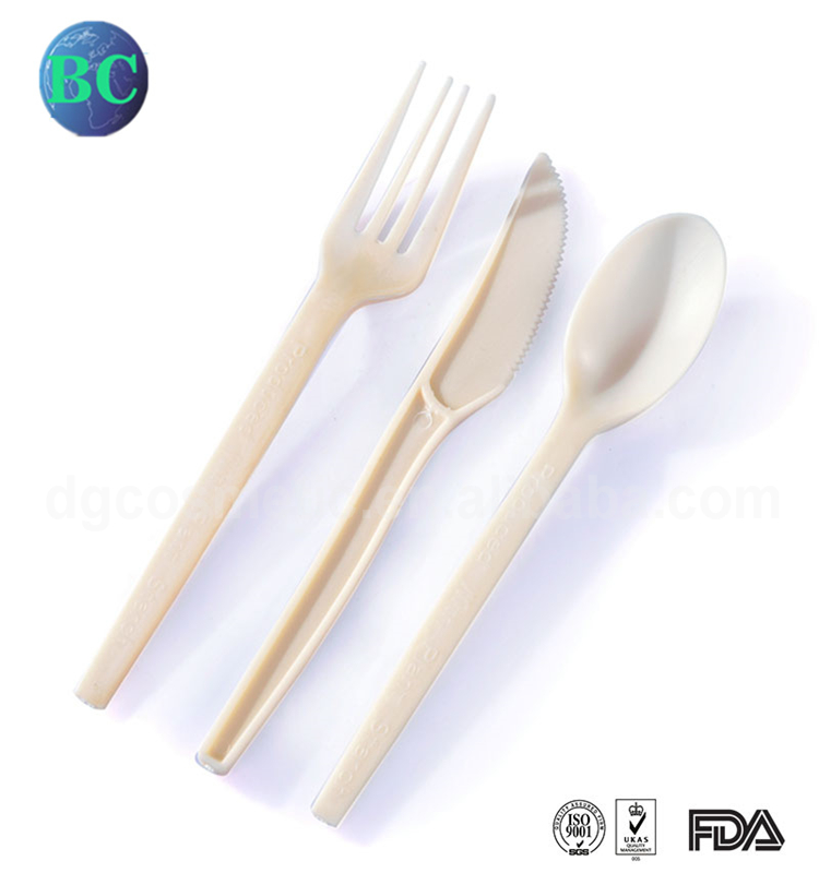 Cheap Eco Friendly Biodegradable Corn Starch Disposable Restaurant Plastic Spoon Fork Knife Sets