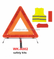 Hi Vis traffic triangle and vest car safety kits