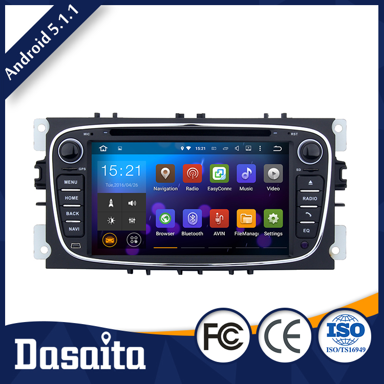 7 inch 2 din 4x50w android 5.1.1 car dvd gps player navigation 1080p black colored for ford connect