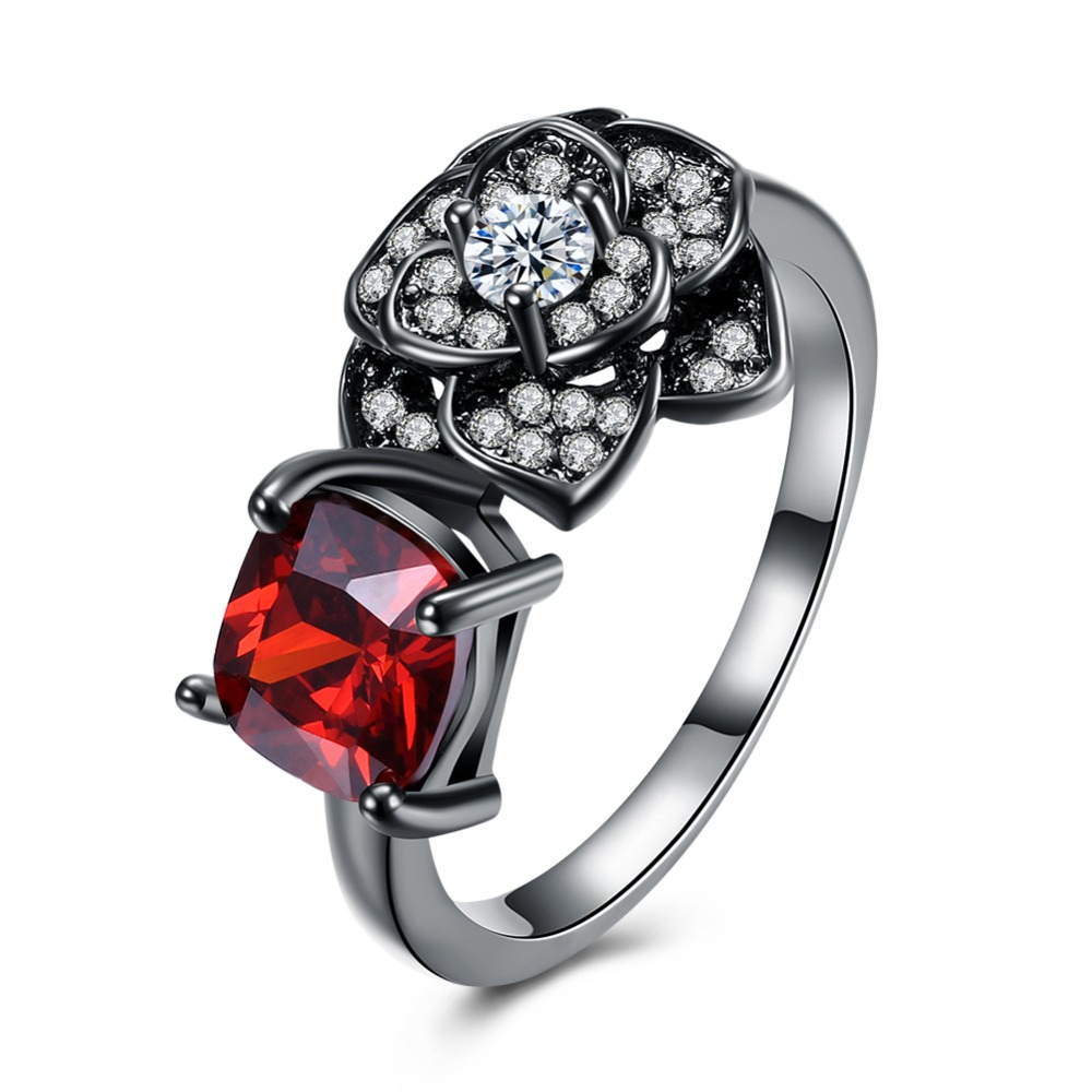 China Jewely Wholesale Black Gun Plated Brass Cubic Zirconia Imitation Garnet Red Birthstone Flower Ring for Women SJ18KRGPR1033