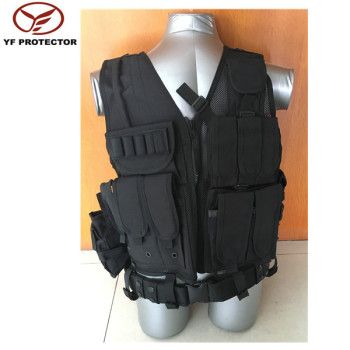 Oxford tactical vest with buckles/black tactical vest