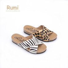 Best selling China manufacturer EVA outsole leopard printed criss-cross striped casual fashion lady wooden cork slippers