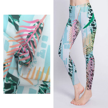 Fashion Custom Pattern Fitness Tights Sports Colorful 85% polyester 15% spandex 4 Way Stretch yoga pants fabric