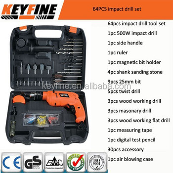 64pcs Combinatione tool kit with 500W impact drill tool set