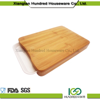 more function bamboo wooden chopping board with plastic tray