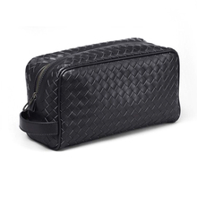 Mens genuine leather travel cosmetic bag, weave braid PU material toiletry beauty make up vanity grooming pack pouch organizer