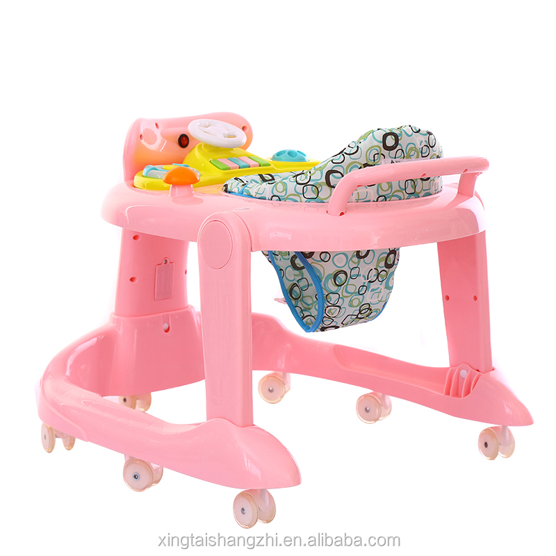 wholesale height adjustable music hand push baby walker
