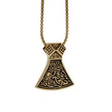 custom viking jewelry type gold plated 316l stainless steel Axe Amulet Pendant necklace viking jewelry