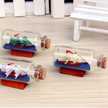 Mini Clear Wishing Message Glass Bottles With a Ship