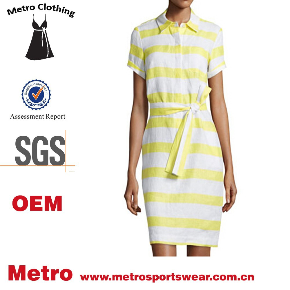 Yellow and white stripes linen dress women middle age Trade Assurance