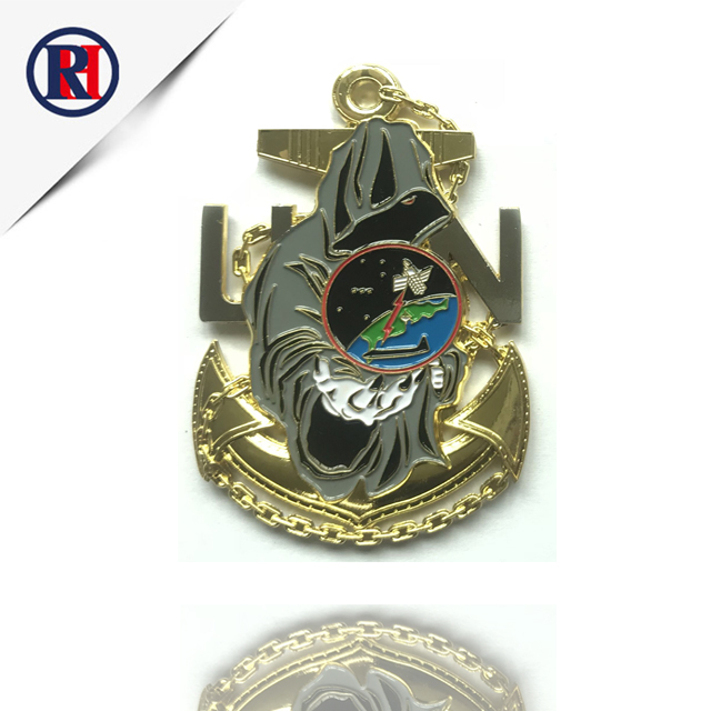 Custom metal souvenir gift plating gold rudder military challenge coin