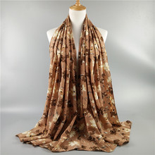 Best-Selling Bubble Chiffon Floral Puff Print Woman Muslim Hijab Shawl