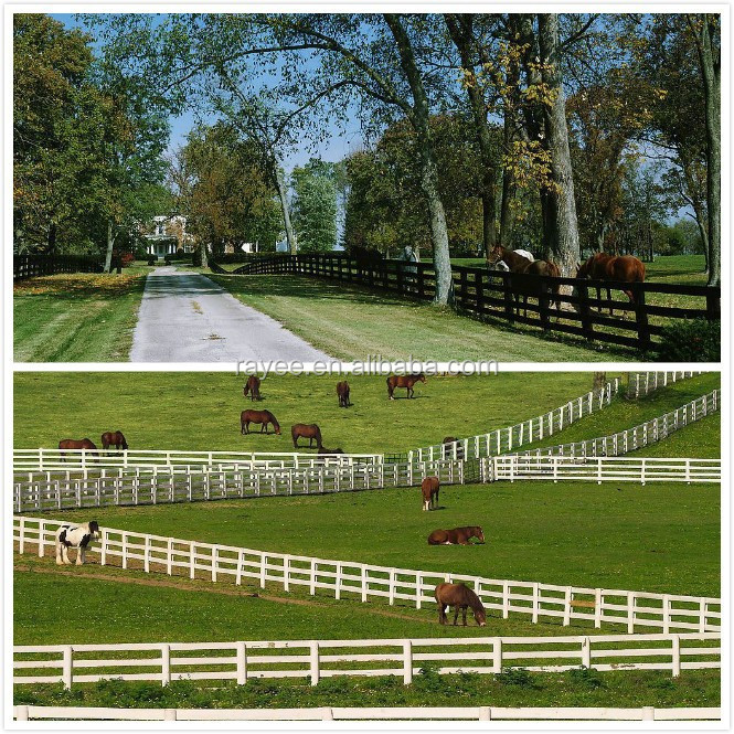 2 or 3 rail PVC horse ranch fence with nice outlook low price high quality, horse paddock fence/recinzioni per cavalli