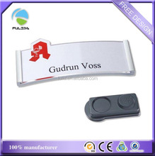 Silver plastic magnetic reusable magnetic name badge