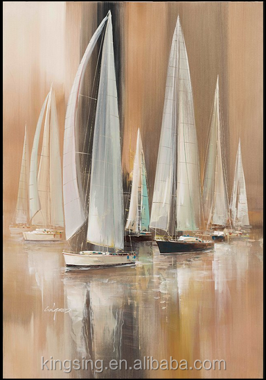 Handpaint Abstract Sail Boat Painting Canvas Painted Paintings