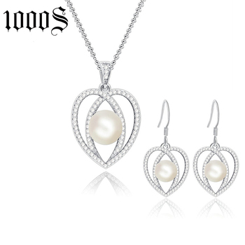 fashion heart shape freshwater pearl jewelry set with drop earring