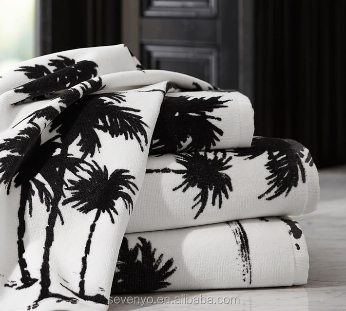 100%cotton customized Fast Dry Palm tree Bath Towels set- bt-123