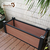 Contemporary indoor backyard brown wpc flower box rectangle wooden plastic privacy planter box
