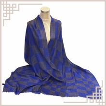 Inner Mongolia Wholesale Blue Plaid Cashmere Designer Scarves