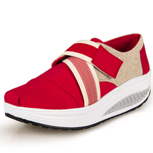 Buckle up canvas shoes women height increasing casual shoes walking shoes