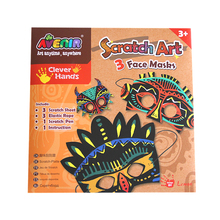 Educational Toys engraving art card Face Masks scratch art painting card promotion gift