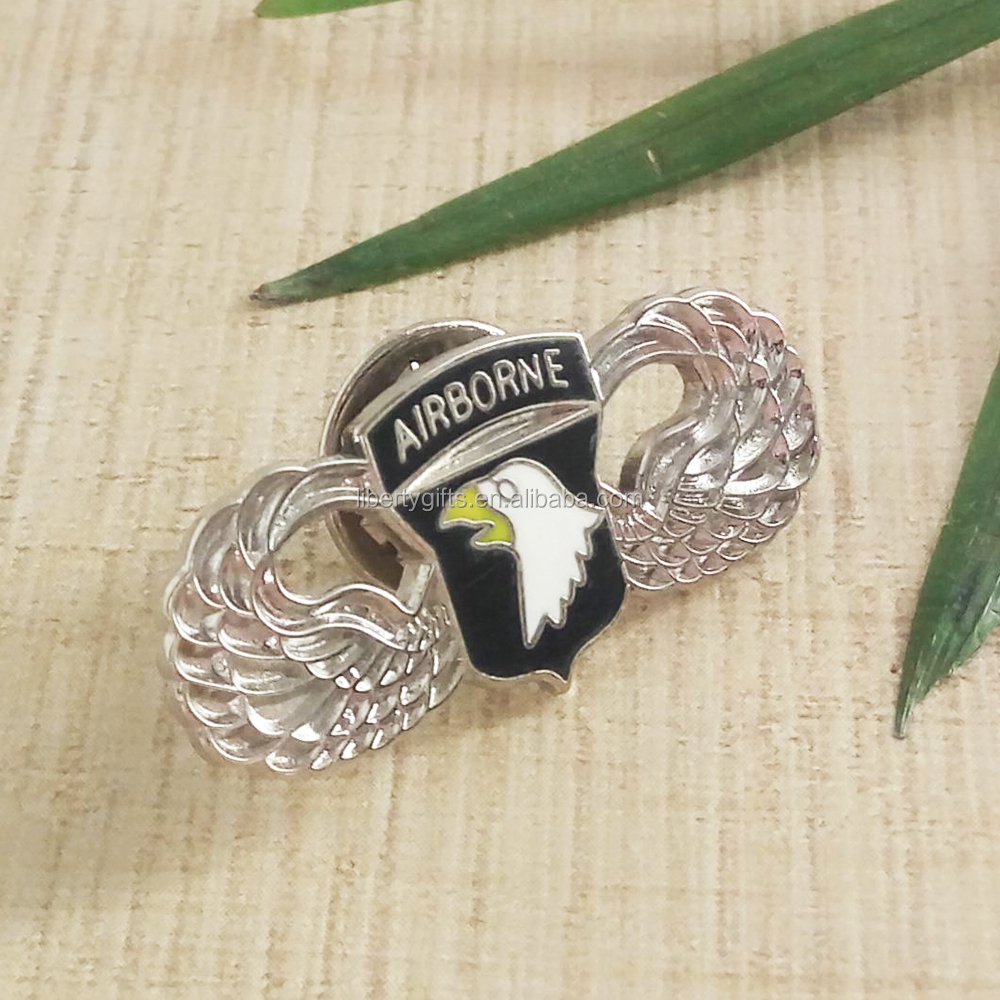 metal lapel pins badges with wing