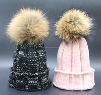 2017 New Arrival Cute Winter Beanies Fur Hat Natural Raccoon Fur Pompoms Bobble