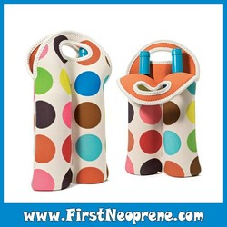 Colorful Dots Two Packs In Sublimation Neoprene Wine Bottle Carrier