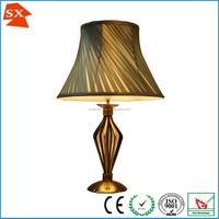 E14 CE approved hardback silk fabric bronze plated office project table lamp