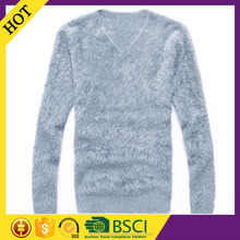 Round neck long sleeve soft warm plus size men angora mohair sweater