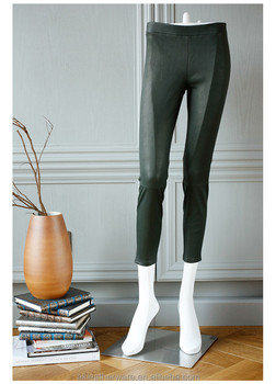 Green Tight Stretch Real Leather Leggings Pants