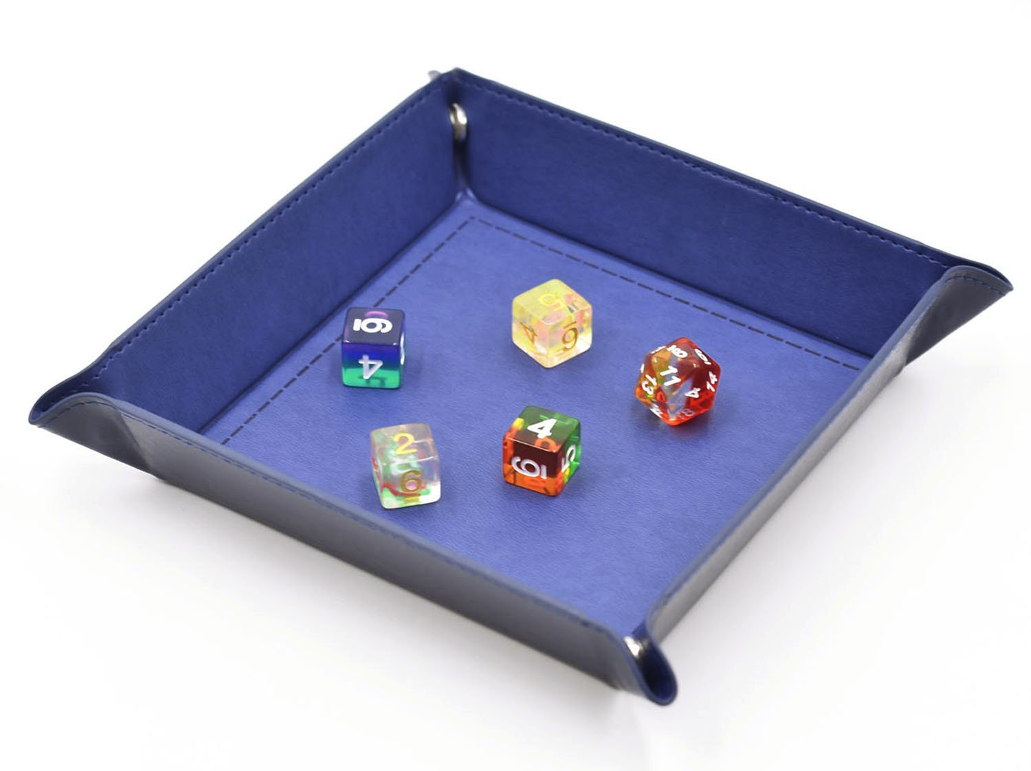 Leather Square Shaped Portable Key Dice Tray Foldable Serving Table Accessories Tray