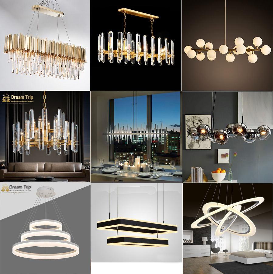 Resin And Iron Material Modern Chandelier Wood Pendant Lamp Classsic Fabric Lampshade