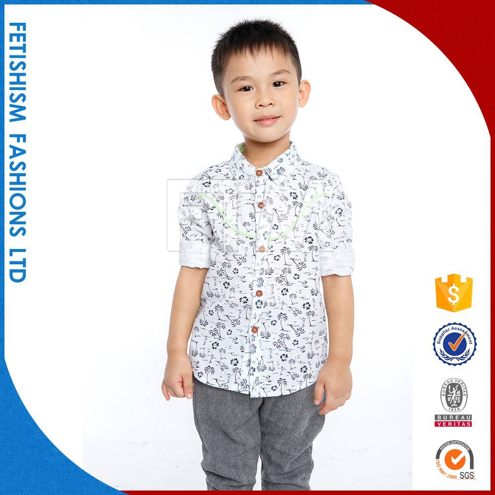 Wholesale High Quality Sale Custom Print Pattern Woven Cotton Little Boys T-Shirt Designer Clothes Without Clothes