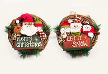 factory sale promotional gifts lovely hanging santa/snowman/reindeer rattan wood wreath
