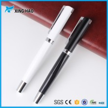 Wholesale black and white pen container luxury metal promotional roller ball pen with logo print