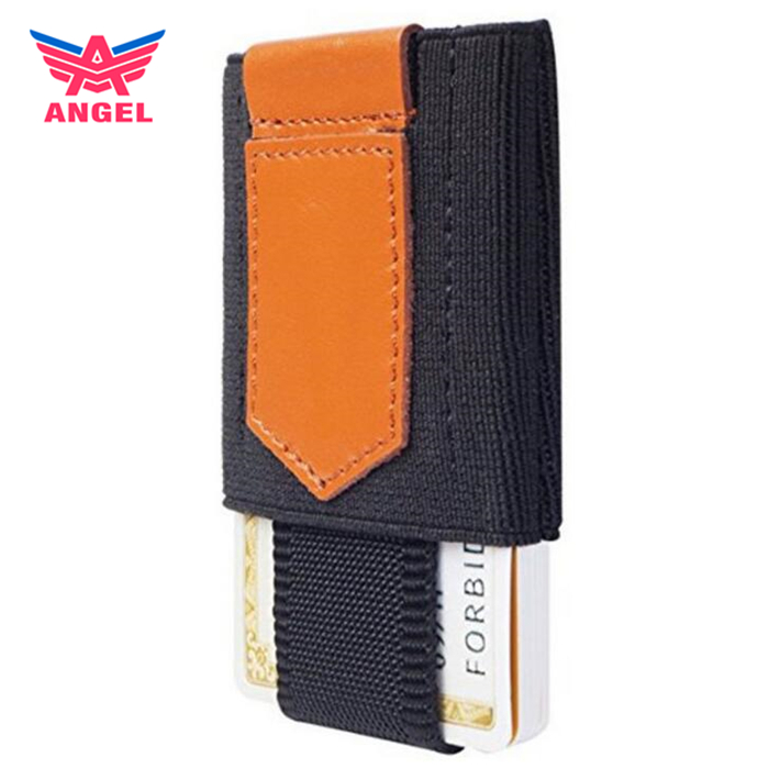 OEM genuine leather mens minimalist slim wallet with elastic band coin pocket