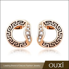 OUXI bulk cheap factory price fashion gold earring jewelry letter D shape stud earrings