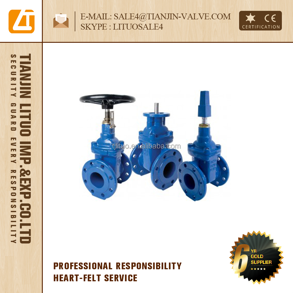DIN standard resilient seated non rising stem gate valve