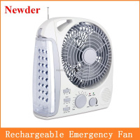 "8"" emergency led light with fan, led rechargeable fan MODEL 283L"