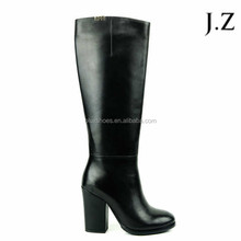 OB61 Women Boots Black Leather Block High Heel Long Knee Boots in Winter