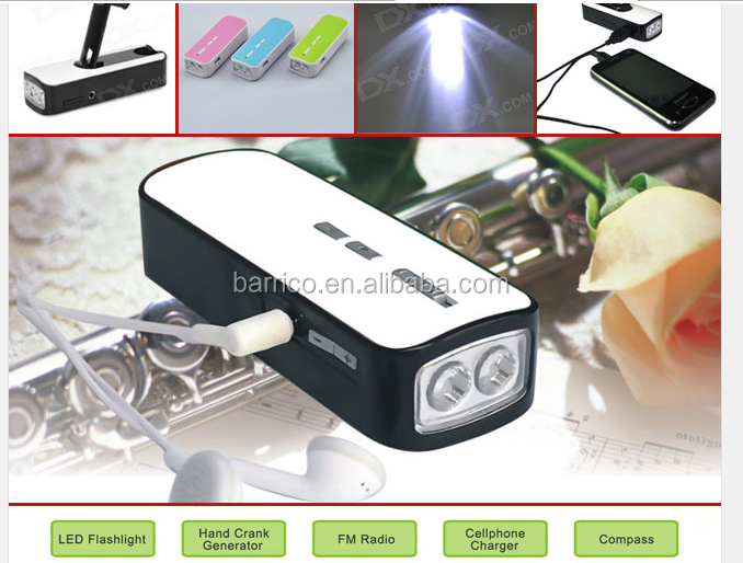 Flash light with FM radio / Hand crank torch with cellphone charger Outdoor accessories