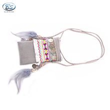 MBBG02 colourful Boho Clutch with Trendy feather hawaii Embroidered bohemian bag leather bag