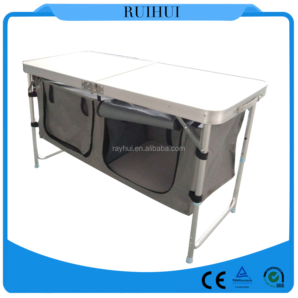 Portable camping table roll-up camp modular kitchen, camping kitchen with folding table