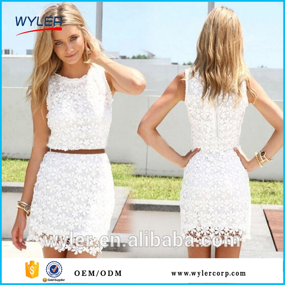 2016 new White lace women summer dress sleeveless cute casual dresses, Vestidos ,roupas femininas