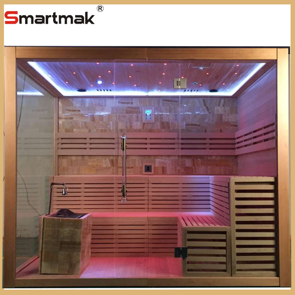 wooden steam sauna room for beauty spa