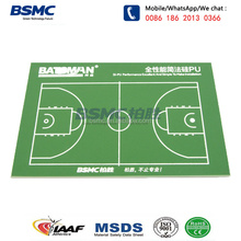 China outdoor wet poured synthetic silicon PU sports surface material for basketball court flooring cost
